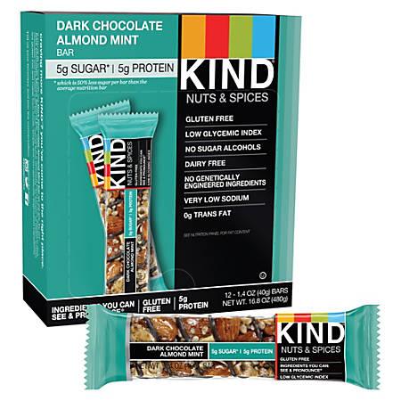 KIND Dark Chocolate Almond Mint Bars, 1.6 Oz, Box Of 12