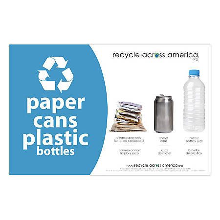 "Recycle Across America Paper, Cans And Plastic Standardized Recycling Label, PCP-5585, 5 1/2"" x 8 1/2"", Light Blue"