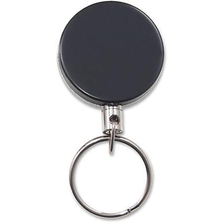 Advantus Heavy-Duty Steel Chain Retracting ID Reel - Steel - 6 / Pack - Silver, Black