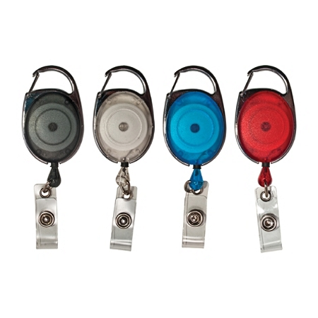 Advantus® Retractable Carabiner-Style Badge Reel with Badge Strap, Assorted Colors, 20/PK