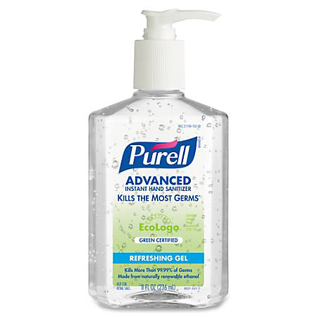 PURELL® Green Certified Instant Hand Sanitizer - 8 fl oz (236.6 mL) - Pump Bottle Dispenser - Kill Germs - Hand - Clear - Moisturizing - 12 / Carton