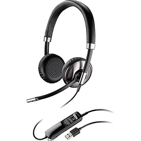 Plantronics Blackwire C720 Headset - Stereo - USB - Wired/Wireless - Bluetooth - 20 Hz - 20 kHz - Over-the-head - Binaural - Supra-aural - Noise Cancelling Microphone - Black