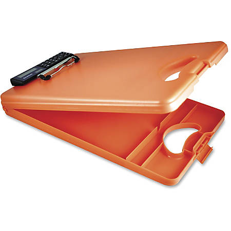 "Saunders DeskMate II 00543 Portable Low-Profile Form Holder Storage Clipboard, 10"" x 16"", Tangerine"