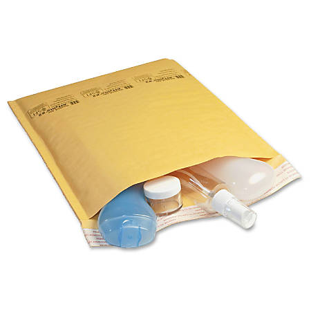 """Jiffy Mailer Laminated Air Cellular Cushion Mailers - Padded - #2 - 8 1/2"""" Width x 12"""" Length - Self-sealing - Kraft - 10 / Pack - Golden Brown"""