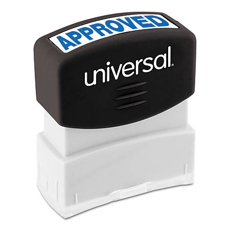 "Universal® Pre-Inked Message Stamp, Approved, 1 11/16"" x 9/16"" Impression, Blue"