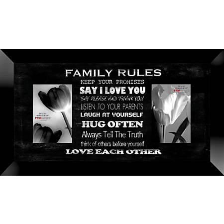 "PTM Images Photo Frame, Family Rules, 22""H x 1 1/4""W x 12""D, Black"