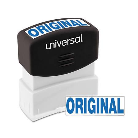 "Universal® Pre-Inked Message Stamp, Original, 1 11/16"" x 9/16"" Impression, Blue"