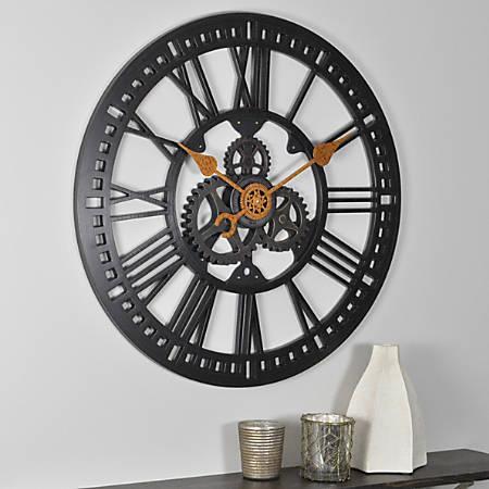 "FirsTime® Roman Gear Wall Clock, 24"", Oil-Rubbed Bronze"
