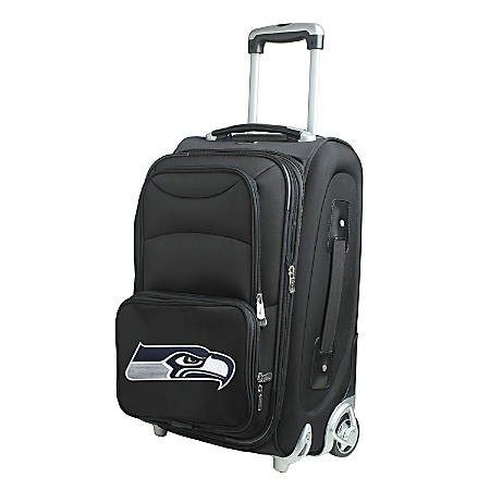 """Denco Nylon Expandable Upright Rolling Carry-On Luggage, 21""""H x 13""""W x 9""""D, Seattle Seahawks, Black"""