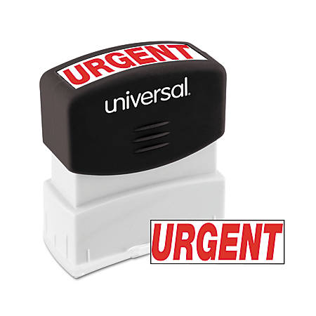 "Universal® Pre-Inked Message Stamp, Urgent, 1 11/16"" x 9/16"" Impression, Red"