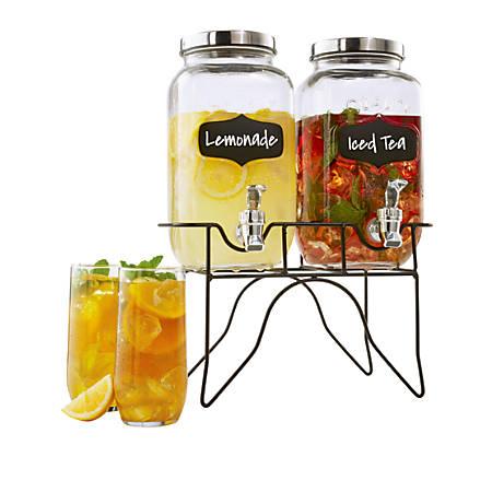 "Double Mason Jar Dispenser Set, 10 1/4""H x 6""W x 12""D, Clear"