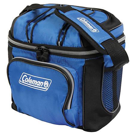 "Coleman Soft-Side 9-Can Cooler, 8 1/2""H x 7 1/4""W x 10 1/4""D, Blue"