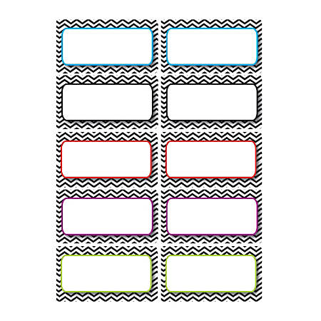 "Ashley Productions Die-Cut Magnetic Nameplates, Black Chevron, 3""H x 1 1/2""W x 1/16""D, Assorted Colors, 10 Nameplates Per Pack, Set Of 5 Packs"