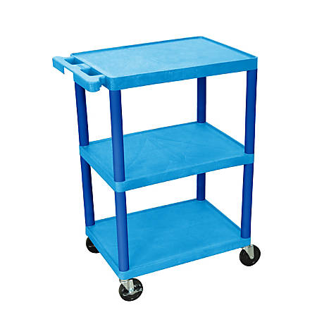 "Luxor Plastic Utilty Cart, 3 Shelves, 32 1/2""H x 24""W x 18""D, Blue"