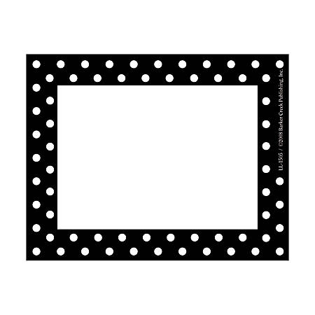 """Barker Creek Self-Adhesive Name Badge Labels, 3 1/2"""" x 2 3/4"""", Black-And-White Dots, Pack Of 45"""
