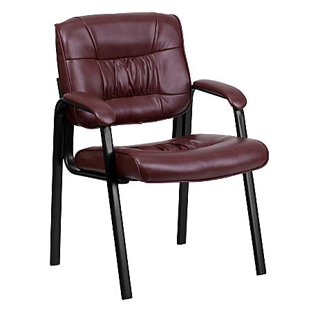 Flash Furniture Leather Side Chair Burgundyblack Office Depot