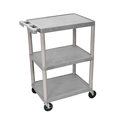 """Luxor Plastic Utilty Cart, 3 Shelves, 32 1/2""""H x 24""""W x 18""""D, Gray"""
