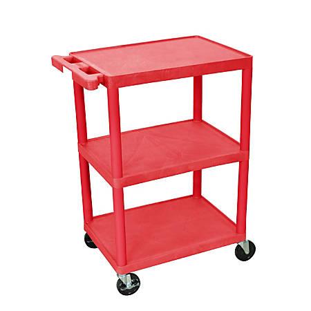 """Luxor Plastic Utilty Cart, 3 Shelves, 32 1/2""""H x 24""""W x 18""""D, Red"""