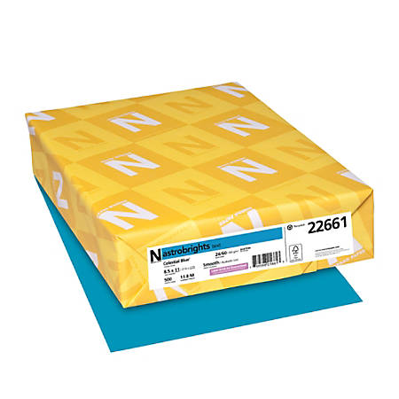 Neenah Astrobrights® Bright Color Paper, Letter Size Paper, 24 Lb, 30% Recycled, FSC Certified, Celestial Blue, Ream Of 500 Sheets