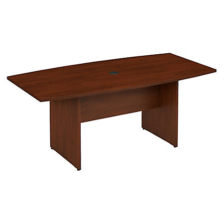 """Bush Business Furniture 72""""W x 36""""D Boat Shaped Conference Table with Wood Base, Hansen Cherry, Standard Delivery"""