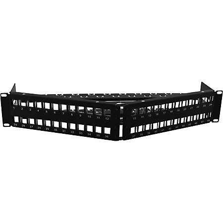 AddOn 19-inch Cat6A 48-Port Angled 2U Patch Panel with 180 Degree Keystones