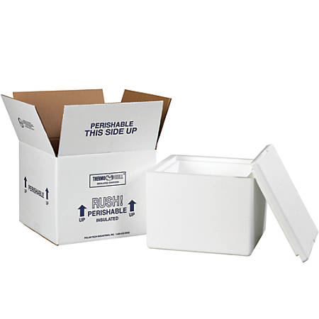 "Office Depot® Brand Insulated Shipping Kit, 7""H x 9 1/2""W x 9 1/2""D, White"