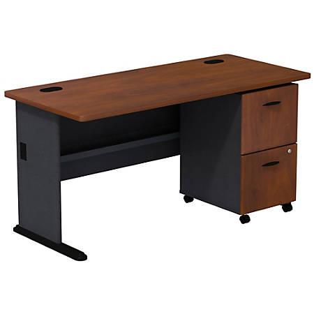 Bush Business Furniture Office Advantage Desk With 2 Drawer Mobile Pedestal, Hansen Cherry/Galaxy, Premium Installation