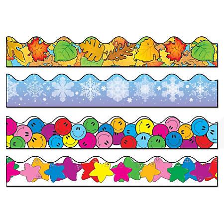 Carson-Dellosa Scalloped Borders Sets, Snowflake/Colored Leaves/Smiley Faces/Colorful Stars, Multicolor, Pre-K - Grade 8, Pack Of 4