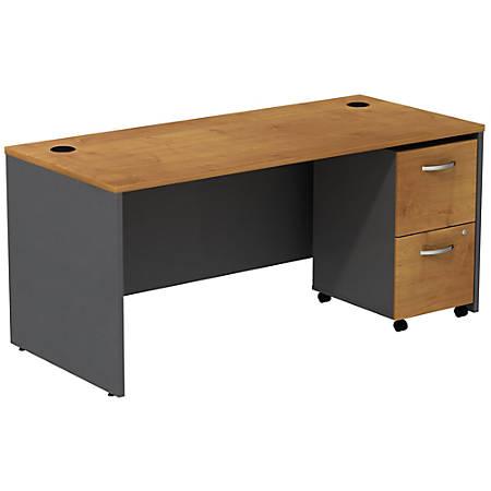 Bush Business Furniture Components Desk With 2 Drawer Mobile Pedestal, Natural Cherry/Graphite Gray, Premium Installation