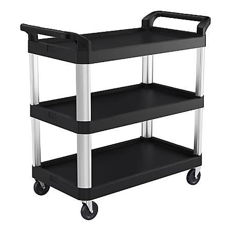 """Suncast Commercial 3-Shelf Service Cart, 38""""H x 20""""W x 40""""D, Black/Silver"""