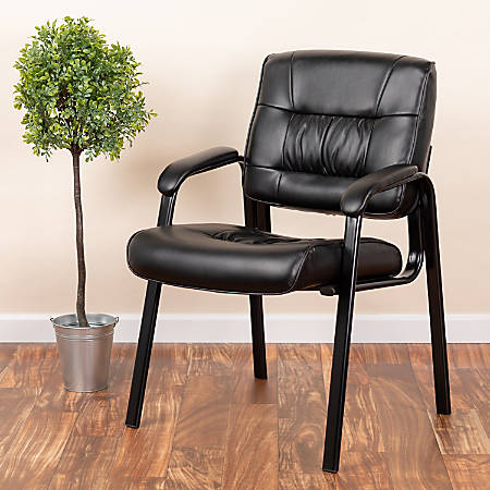 Flash Furniture Leathersoft Side Chair, Black