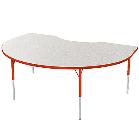 """Marco Group 48"""" x 72"""" Activity Table, Crescent, 16 - 24""""H, Gray Glace/Red"""