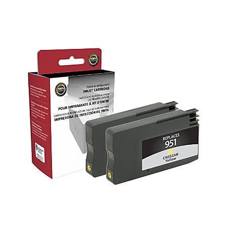 Clover Technologies Group™ OD951YX2 (HP 951 (CN052AN)) Remanufactured Yellow Ink Cartridges, Pack Of 2 Cartridges