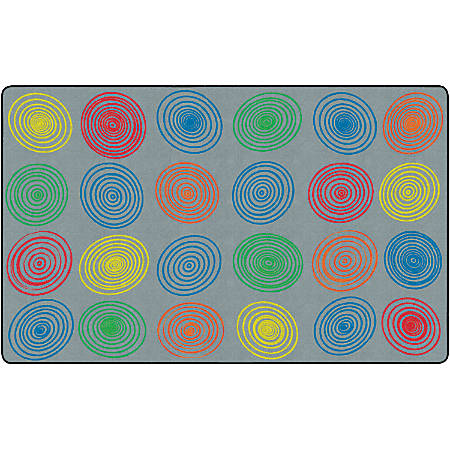 "Flagship Carpets Circles Rug, Rectangle, 7' 6"" x 12', Gray/Multicolor"