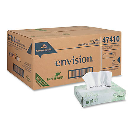 Georgia-Pacific Envision® 100% Recycled Economy Facial Tissue, 100 Sheets Per Box, Case Of 30