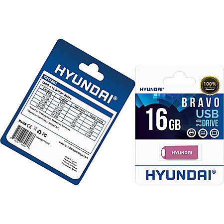 Hyundai Bravo Keychain USB 2.0 Flash Drive 16GB Pink