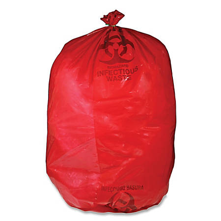 Unimed Red Biohazard Waste Bags, 30-33 Gallons, Box Of 50