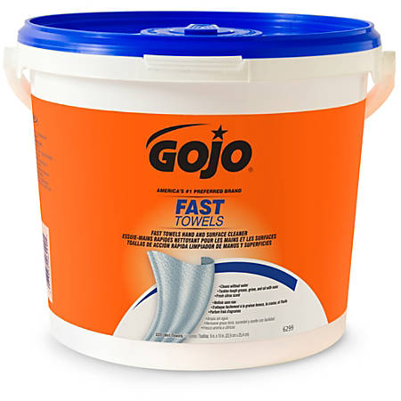 "Gojo® Fast Towels Hand And Surface Cleaner, Citrus Scent, 9"" x 10"", Blue, Bucket Of 255 Towels"