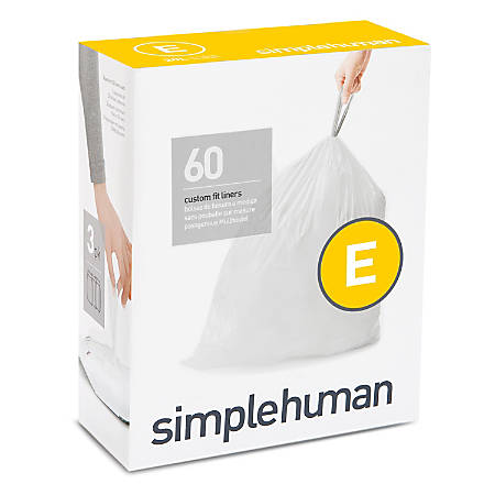 "simplehuman Custom-Fit Trash Can Liners, Code E, 0.025-mil, 5.28 Gallons, 20"" x 18 3/4"", White, Pack Of 240 Liners"