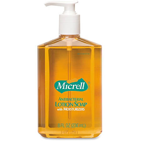 Micrell Antibacterial Lotion Soap - 8 fl oz (236.6 mL) - Pump Bottle Dispenser - Kill Germs, Grease Remover - Antimicrobial, Anti-irritant - 12 / Carton