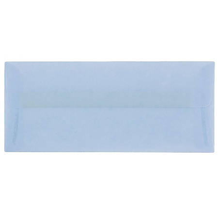 """JAM Paper® Translucent Business Booklet Envelopes With Moisture Seal Closure, #10, 4 1/8"""" x 9 1/2"""", Surf Baby Blue, Pack Of 25"""