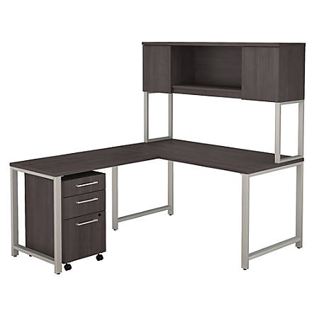 """Bush Business Furniture 400 Series 60""""W x 30""""D L Shaped Desk with Hutch, 42""""W Return and 3 Drawer Mobile File Cabinet, Storm Gray, Premium Installation"""