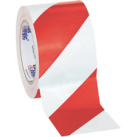 "BOX Packaging Striped Vinyl Tape, 3"" Core, 3"" x 36 Yd., Red/White, Case Of 3"