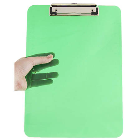 """JAM Paper® Plastic Clipboards with Metal Clip, 9"""" x 13"""", Green, Pack Of 12"""