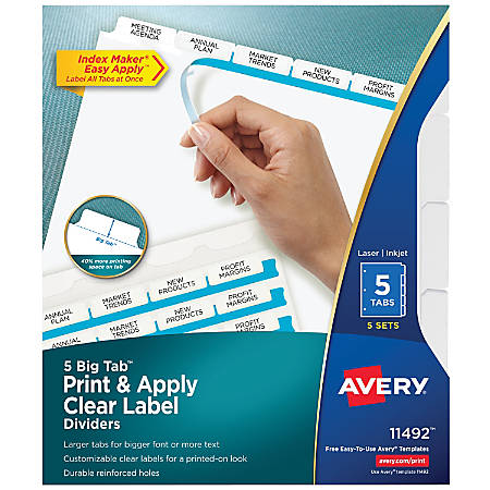 Avery® Big Tab™ Print & Apply Clear Label Dividers with Index Maker® Easy Apply™ Printable Label Strip, 5-Tab, White, Pack of 5 Sets