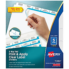 Avery Big Tab Print Apply Clear