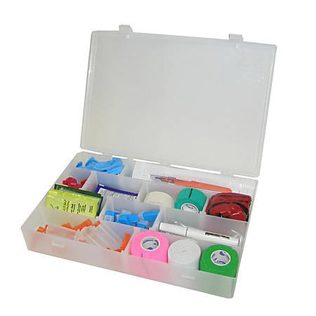 "Unimed Solvent-Resistant Infinite Divider Storage Box, 4-20 Compartments, 2 3/16""H x 13 1/2""W x 9 1/2""D"