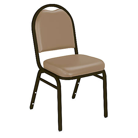 National Public Seating Dome-Back Stacking Chairs, Vinyl, French Beige/Mocha, Set Of 2