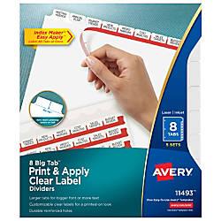 Avery Big Tab Print Apply Clear