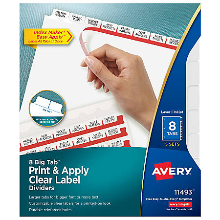 Avery® Big Tab™ Print & Apply Clear Label Dividers with Index Maker® Easy Apply™ Printable Label Strip, 8-Tab, White, Pack of 5 Sets